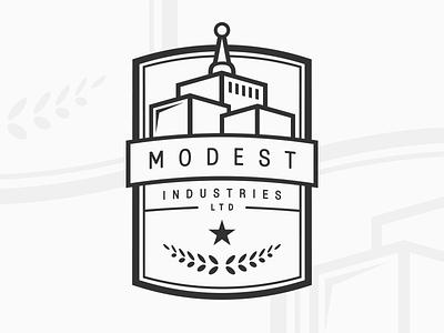 Modest Industries Ltd. branding peace star identity banner buildings badge logo modest industries ltd industries modest