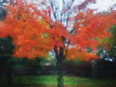 Fiery Maple Tree in Oil Painting Style photoshop editing photography redbubble deborahgoschygraphicdesign fabricprint mamagoose26 deborah goschy graphicdesign