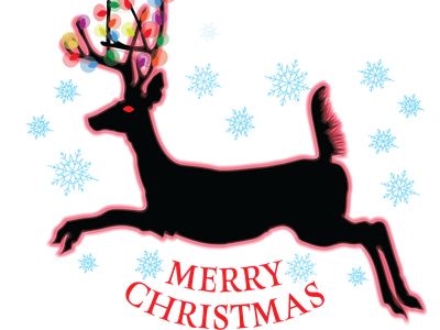 Leaping Holiday Deer merry christmas t-shirt design christmas tree colorful lights design vector redbubble illustration adobe illustrator vectorillustration mamagoose26 deborah goschy graphicdesign