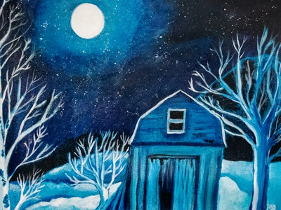 A Midwest Winter's Night painting snow cold dark midnight winter midwest acrylics acrylicpainting acrylic paint redbubble illustration mamagoose26 deborah goschy graphicdesign