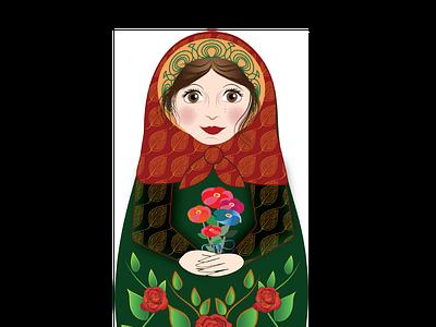 Brown-Eyed Sweetheart Matryoshka Doll fabricprint deborah goschy mamagoose26 vectorillustration illustration graphicdesign cute pretty nesting doll stacking doll russian folk-art russian doll matryoshka doll doll matryoshka