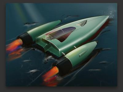 Design Drawing | Rocket Boat boat sea procreate sketching designdrawing
