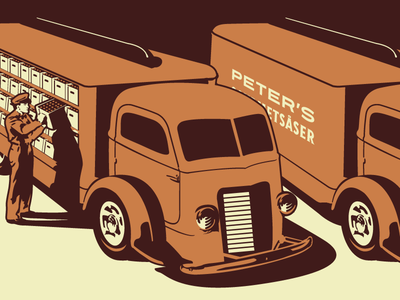 Gourmet Sauce Delivery Truck Illustration