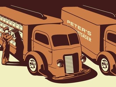 Gourmet Sauce Delivery Truck Illustration growcase illustration sauce gourmet sauce factory delivery peters peter bottles truck vehicle peters gourmetsåser norrbotten norrland piteå