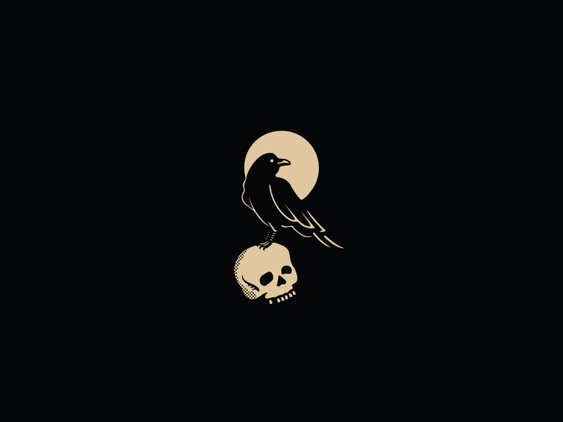 The White Buffalo - Raven, Moon & Skull murder death raven moon skull music album artwork on the widows walk the white buffalo spot illustration