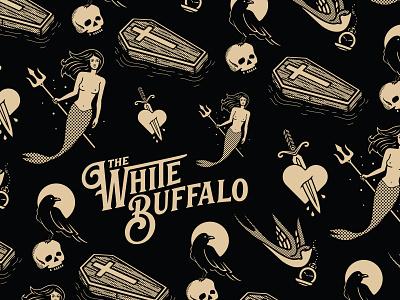 The White Buffalo - Illustration Pattern with Logotype logo logotype branding knife heart siren mermaid murder crucifix raven bird floating coffin music album artwork the white buffalo spot illustration