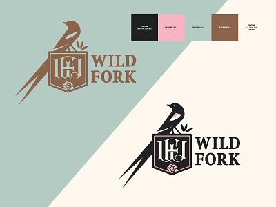 Wild Fork / Re-Branding (Continued) monogram food dining tulsa oklahoma utica square restaurant rose roses long tailed widowbird bird brand identity branding logo design