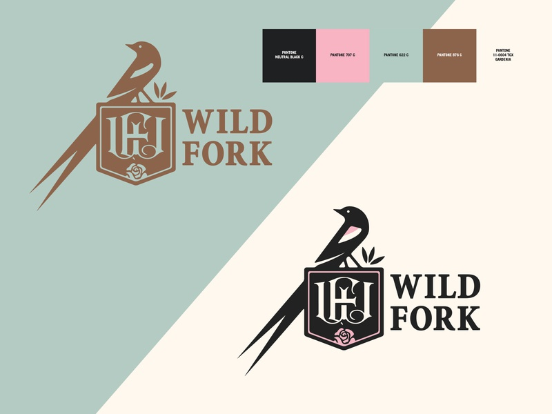 Wild Fork / Re-Branding (Continued) monogram food dining tulsa oklahoma utica square restaurant rose roses long tailed widowbird bird brand identity branding logo design