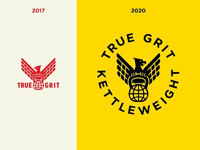 True Grit - Brand overhaul 2017 - 2020 kettle weight workout weightlifting true grit kettlebell training logotype logo kettle bell gym growcase fitness eagle brand identity