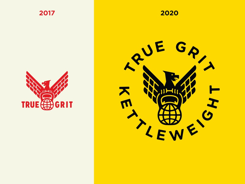 True Grit - Brand overhaul 2017 - 2020 kettle weight workout weightlifting true grit kettlebell training logotype logo kettle bell gym growcase fitness eagle brand identity