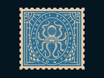 Sturgill Simpson - Sound & Fury (Merch) stamp design steampunk squid octopus merch design music sturgill simpson growcase