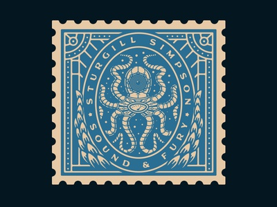 Sturgill Simpson - Sound & Fury (Merch) stamp design steampunk squid octopus merch design music sturgill simpson growcase