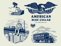 American Blue Collar - Illustration series crest shield flag eagle skyline illustration worker workwear workingclass growcase entrepreneurs truck trucker american blue collar