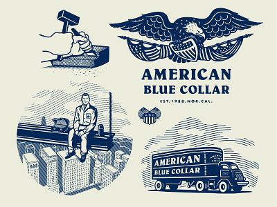 American Blue Collar - Illustration series crest shield flag eagle skyline illustration worker workwear workingclass growcase entrepreneurs truck trucker american blue collar