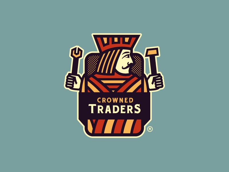 Crowned Traders Logo growcase logo design logo designer logo jack of all trades playing card concept crowned traders