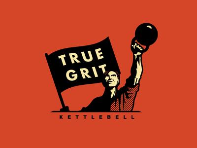 True Grit Kettlebell logo logo design identity logotype kettlebell true grit kettle bell gym lifter training workout work out