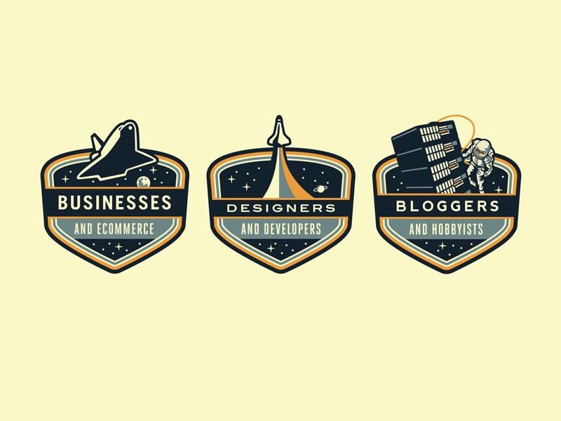 Rockettt Badges rocket space shuttle astronaut web hosting growcase badge space badges nasa rockettt patch