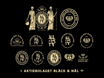 Aktiebolaget Bläck & Nål - Full Branding System typography growcase logo logo design branding logotype brand identity logo designer illustration logomark badge emblem tattoo studio tattooing badges