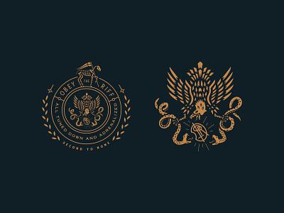 Obey the Riff monogram eagle snakes niclas engelin in flames obey the riff emblem badge logomark logo designer brand identity logotype branding logo design logo growcase