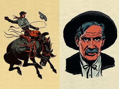 Spot illustrations for G.A.R.M. Co. g.a.r.m. co. garm company ps action actions photoshop action set cowboys cowboy illustration growcase