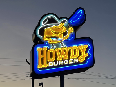 Howdy Burger - Neon Sign signs signage neon sign mascot illustration design identity brand identity logotype branding logo design logo burger growcase