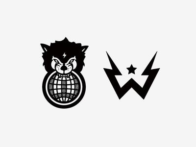 Wolftronix Logomark Explorations growcase logo logomark logo design globe wolf headdress w lightning sparks pedals electric guitar bass guitar