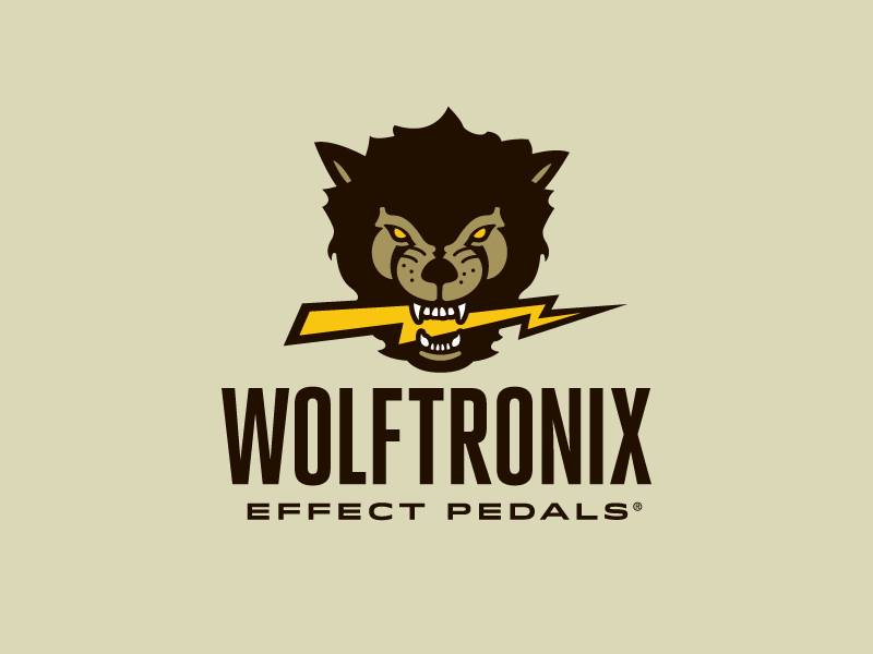 Wolftronix Effect Pedals Logo bass guitar electric guitar pedals sparks lightning w wolf headdress globe logo design logomark logo growcase