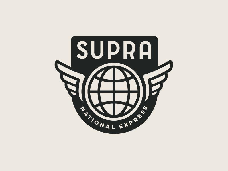 SUPRA National Express wings globe growcase logo logo design brand identity branding visual identity transportation trucking