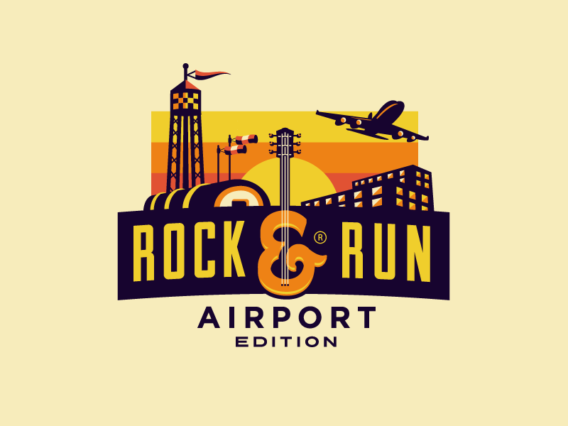 Rock & Run - Airport Edition crossangels rock  run marathon run branding logo design logo growcase airport plane