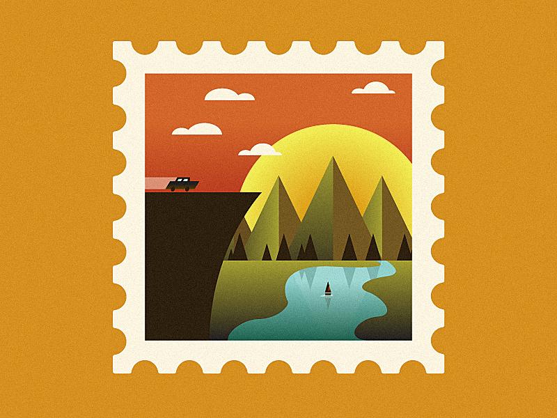 Stamp (Album Artwork Draft) growcase cover art album art record artwork nature boat car illustration postage stamp