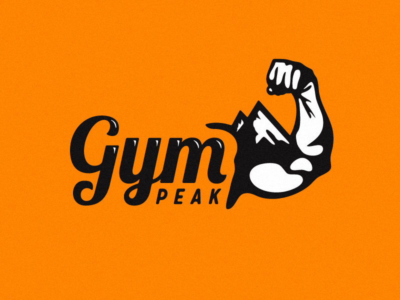 Gym Peak Logo growcase logo logotype brand identity gym peak biceps workout summit strong arm mountain range