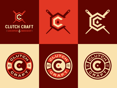 Clutch Craft Logo Explorations growcase logo logotype brand identity screenprint embroidery screenprinting clutch craft needle ink