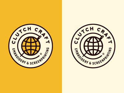 Clutch Craft Logo Concept #3 growcase logo logotype brand identity screenprint embroidery screenprinting clutch craft needle ink
