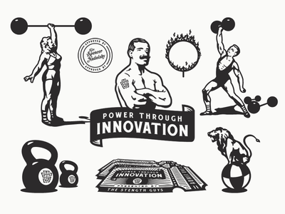 The Strength Guys - Program Illustrations circus growcase forefathers dan gretta tsg the strength guys power through innovation old world weights kettlebell ticket lion