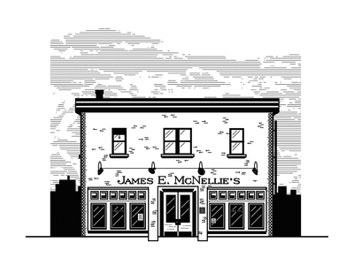 McNellie's - Tulsa growcase illustration restaurant mcnellies tulsa oklahoma irish bar pub ireland building