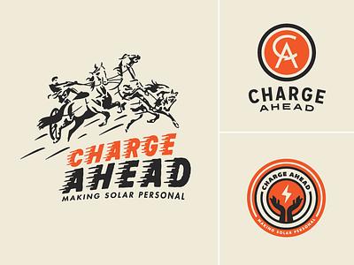 Charge Ahead Brand Identity Concepts growcase logo logotype brand identity monogram charge ahead solar power portable solar devices horses lightning bolt