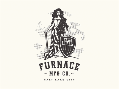 Furnace MFG Co. - First draft sledge hammer shieldmaiden salt lake city american flag shield furnace mfg co victorian monogram brand identity logotype logo growcase