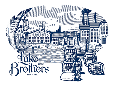 Lake Brothers Beer Co. illustration piece. the great lakes frigate boat lake brothers beer co barrels barrel factory victorian illustration brewing brewery beer growcase