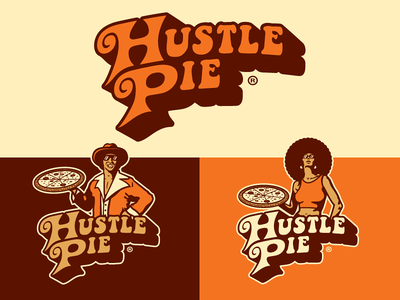 Hustle Pie Branding logo design pizzeria pizza blaxploitation identity logomark logo forefathers growcase