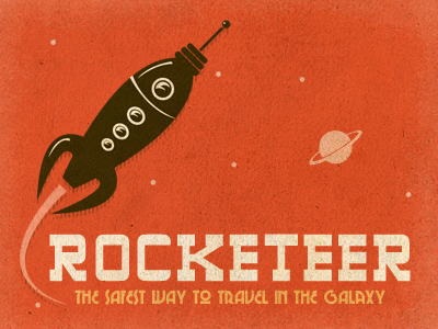 Rocketeer - The Safest Way to Travel in the Galaxy growcase illustration rocket rocketeer space highlands chi-town retro vintage worn saturn