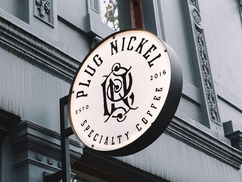 Plug Nickel Signage cold brew plug nickel coffee logomark logo forefathers growcase