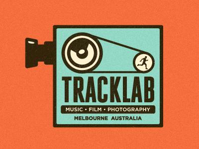 Tracklab Logo Exploration 2 growcase logo tracklab film photography music music studio melbourne australia camera projector hamster wheel running lens speaker retro logo design logo designer