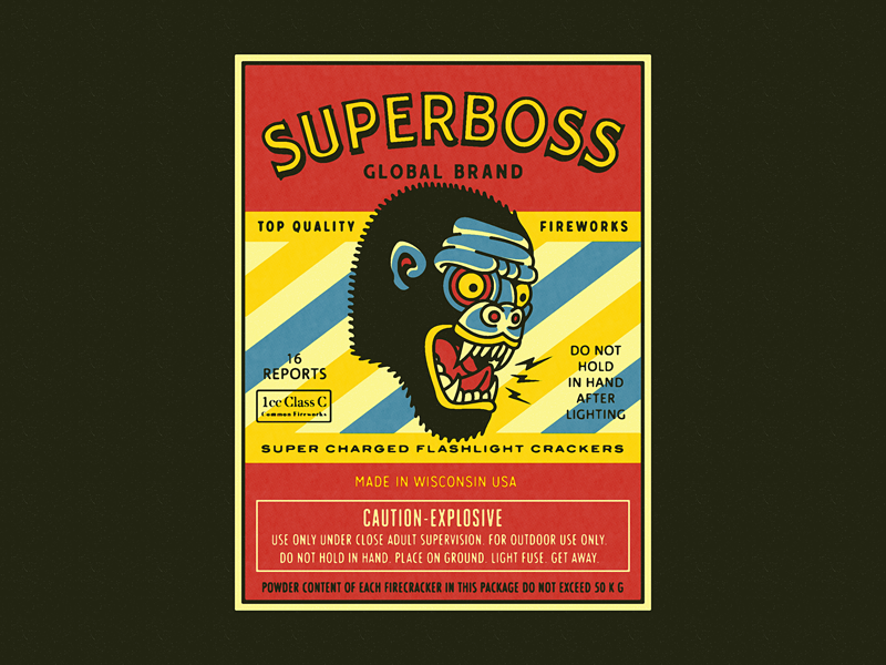 SUPERBOSS gorilla monkey promotion packaging fireworks firecrackers superboss branding forefathers growcase
