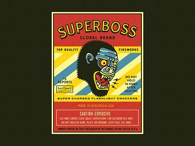 SUPERBOSS gorilla monkey promotion packaging fireworks firecrackers superboss branding forefathers growcase