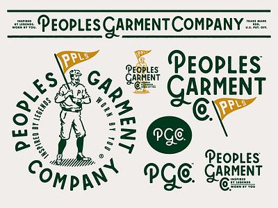 Peoples Garment Company - Branding brand identity logotype vintage sports apparel custom typography type wordmark responsive branding peoples garment company logomark logo forefathers growcase