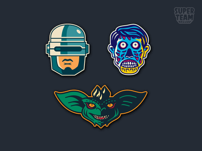 Vote for your Super Team Deluxe Sci-fi patch! pop culture cinema movies eighties 1980s 80s sci fi sci-fi they live gremlins robocop team super deluxe growcase