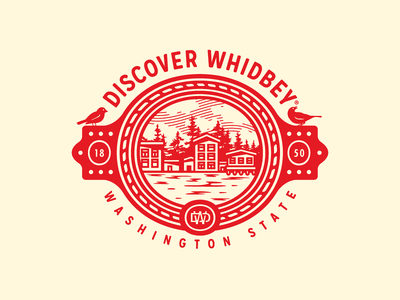 Discover Whidbey skyline discover whidbey victorian badge branding logomark logo forefathers growcase
