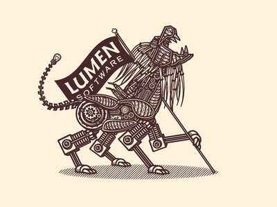Lumen Software flag lumen software steampunk lion branding logomark logo forefathers growcase
