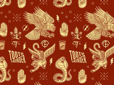 Toothgrinder Pattern eagle mutant wolf snake skull lion typography toothgrinder vinyl album cover branding logomark logo forefathers growcase