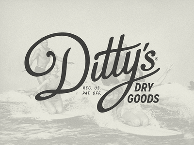 Ditty's Dry Goods beach gear waterproof surfing surfer surf dittys dry goods custom typography logotype branding logo design logo growcase